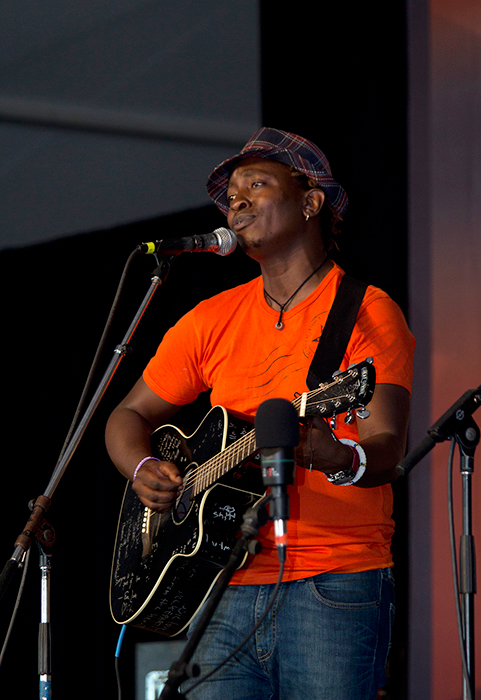 Eric Wainaina, a singer-songwriter known for his blend of benga rhythm and modern harmonies, performs.