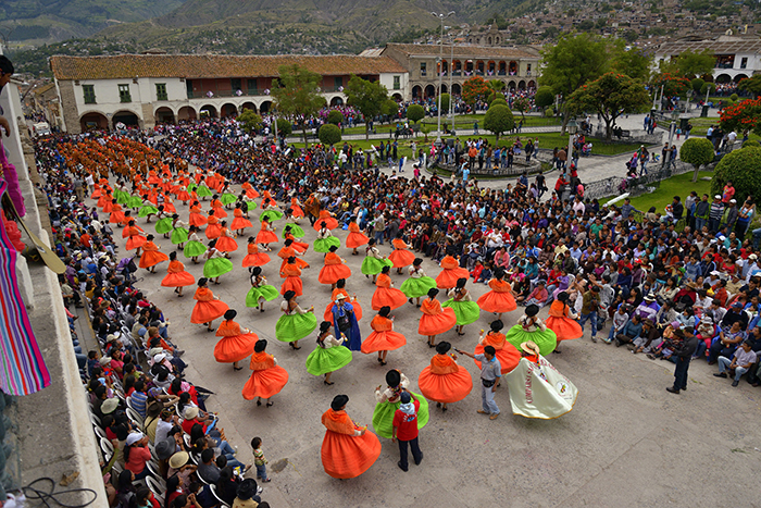 People frequently gather in the main square of Ayacucho for fiestas and celebrations.