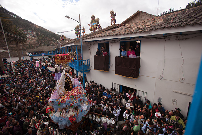 Thousands of tourists and residents come to Paucartambo to honor the Virgen del Carmen, known locally as Mamacha Carmen.