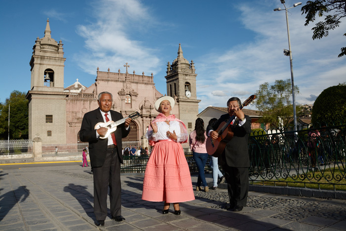 La Estudiantina Municipal de Ayacucho performs in the town of Ayacucho's main plaza.