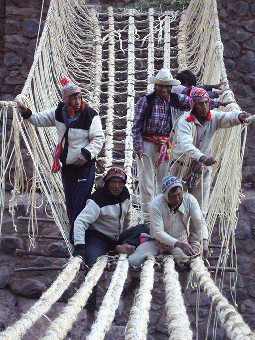 Craftsmen from the Huichire community work together to build the rope bridge, an ancient tradition passed down through generations and involving the entire community.