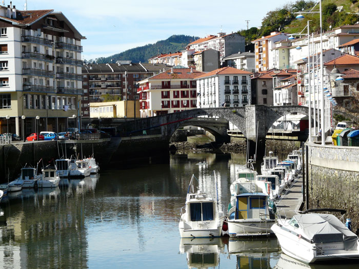 Boats congregate in the old port of Ondorroa (Bizkaia).