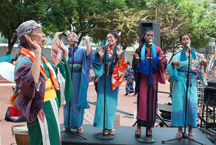Nobuko Miyamoto, Nancy Sekizawa, Carla Vega, Asiyah Ayubbi, and June Kaewsith perform with the <i>FandangObon</i> project at the Japanese American Cultural and Community Center in Los Angeles, 2015.