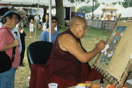 A Tibetan monk demonstrates thangka painting at the 2000 Festival. Photographer unknown, Ralph Rinzler Folklife Archives