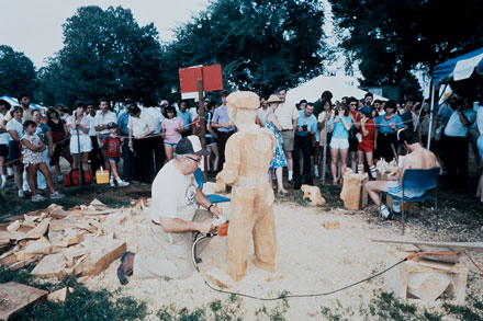 "Rodney Richard Sr. works on ""Pierre"" at the 1983 Folklife Festival. Photographer unknown, Ralph Rinzler Folklife Archives"