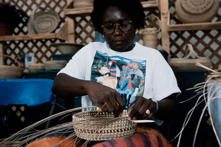 Along with Mary Jackson, Melissa Darden demonstrated sweetgrass basket sewing at the Festival.