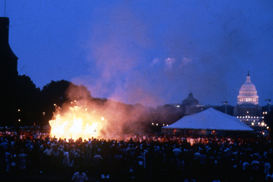 The epic battle between Rāma and Rāvana begins with the giant effigies being shot by a flaming arrow and ends with a bonfire across from the Castle.