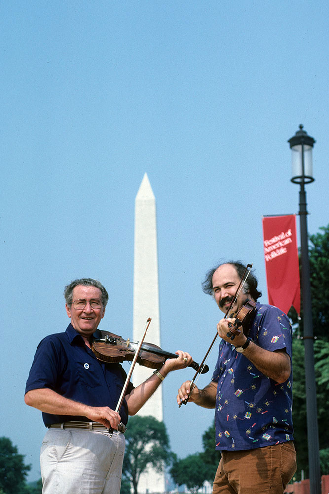 Dewey Balfa (left) and Michael Doucet at the 1983 Folklife Festival.