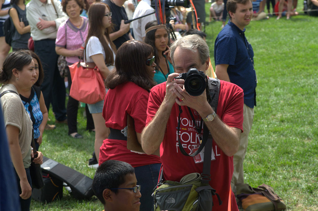 Volunteer photographer Brian Barger at the 2015 Festival.