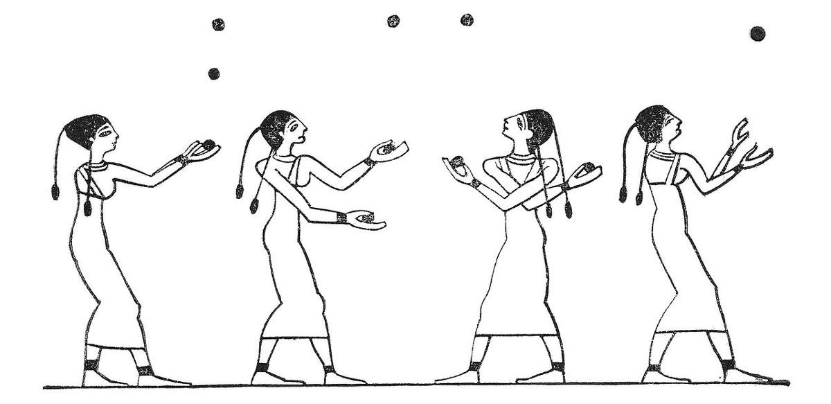 Image of toss jugglers from the ancient Beni Hasan tomb of an unknown Egyptian prince (c. 1994–1781 BCE).