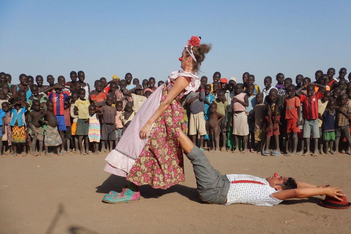 Artists Gabi Winters and Lucho Guzman perform in the Kakuma refugee camp in Kenya.