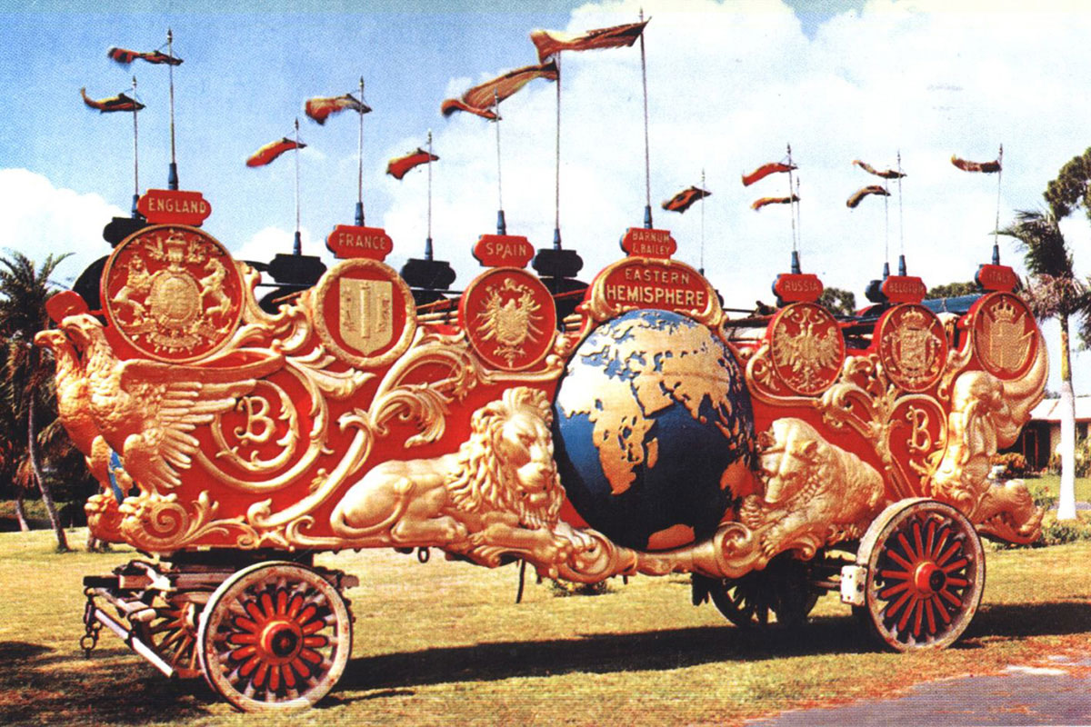 The Two Hemispheres bandwagon was built to highlight the 1903 Barnum & Bailey Circus parade in celebration of the show's triumphal return to the United States from a five-year European tour.