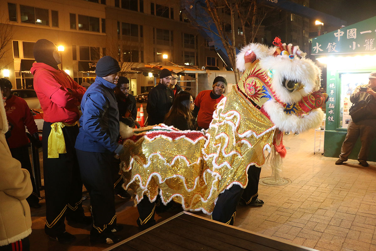 The Wong People Lion Dance team, eve of the Lunar New Year, 2016.