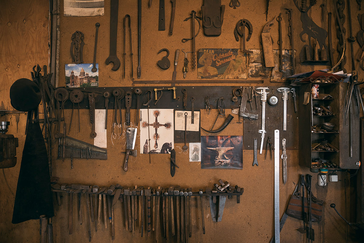 The wall of tools in Mnoyan's workshop include pieces passed down from his grandfather.
