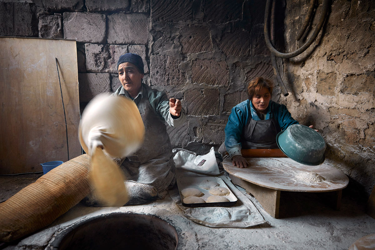 Making lavash—a seated dance—in Yeghvard.