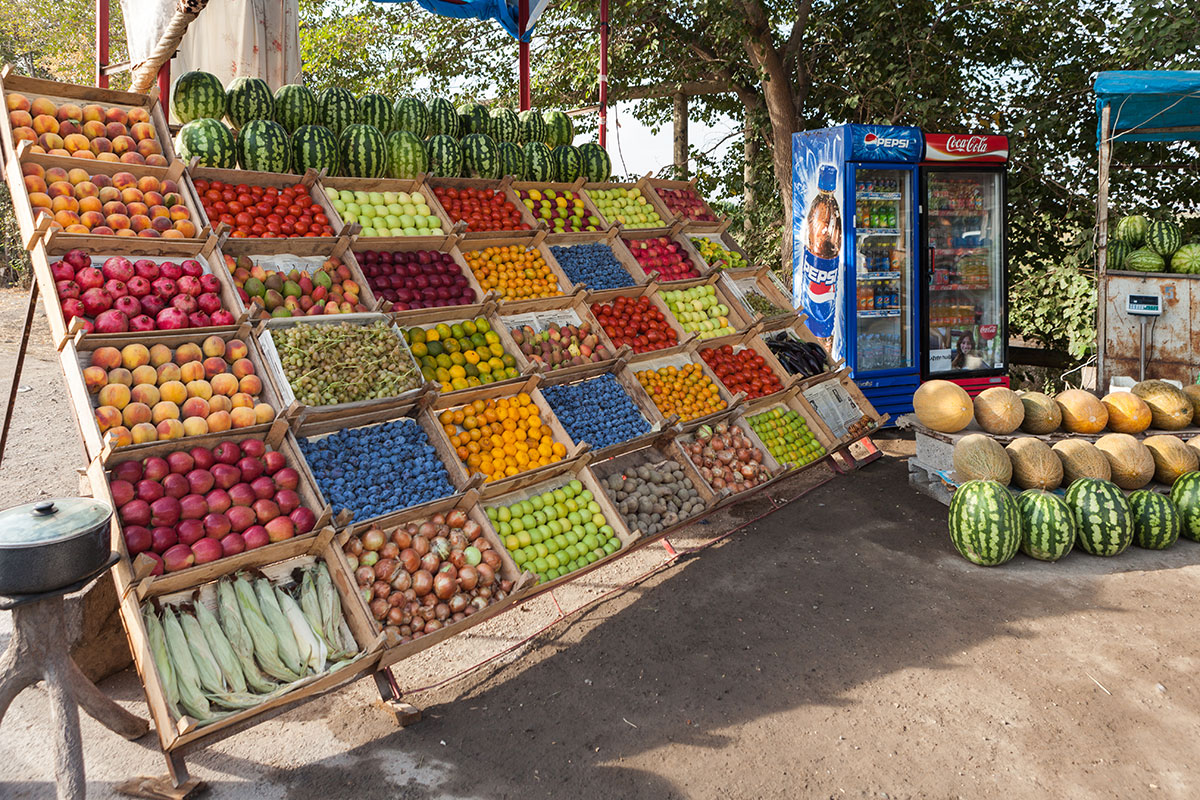 A roadside stand in Ararat Valley shows produce at its peak, where passersby stock up before returning to Yerevan.