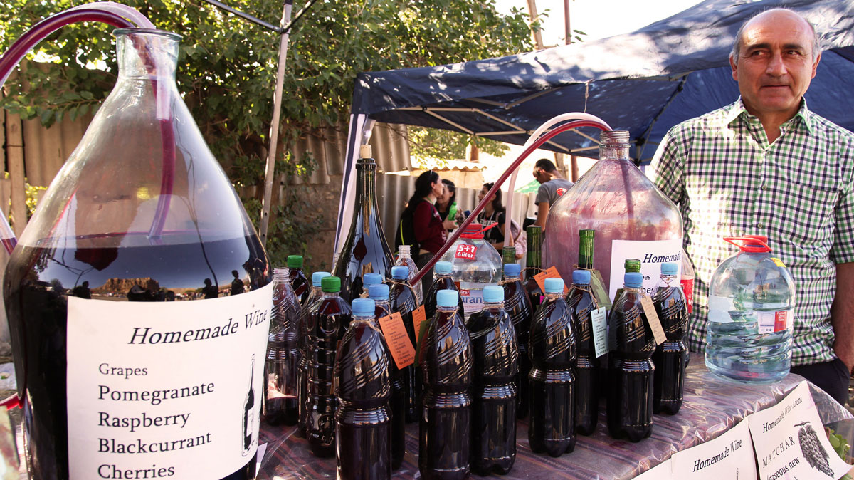 Along the road in Vayots Dzor, vendors sell homemade wines in recycled bottles.