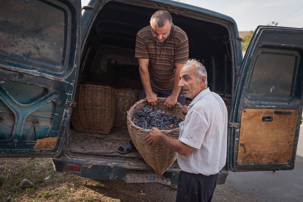 Local growers load up the grape harvest to transport to a winery in Vayots Dzor.