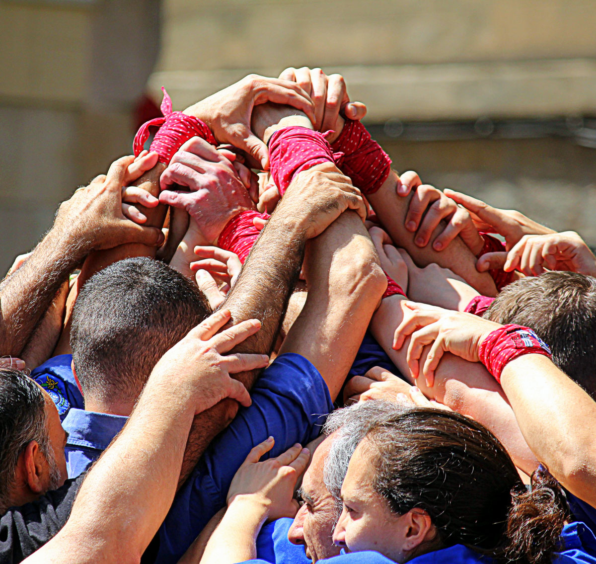 Castellers build the pinya (base) of a human tower, which acts as a safety net for the people on the upper levels.
