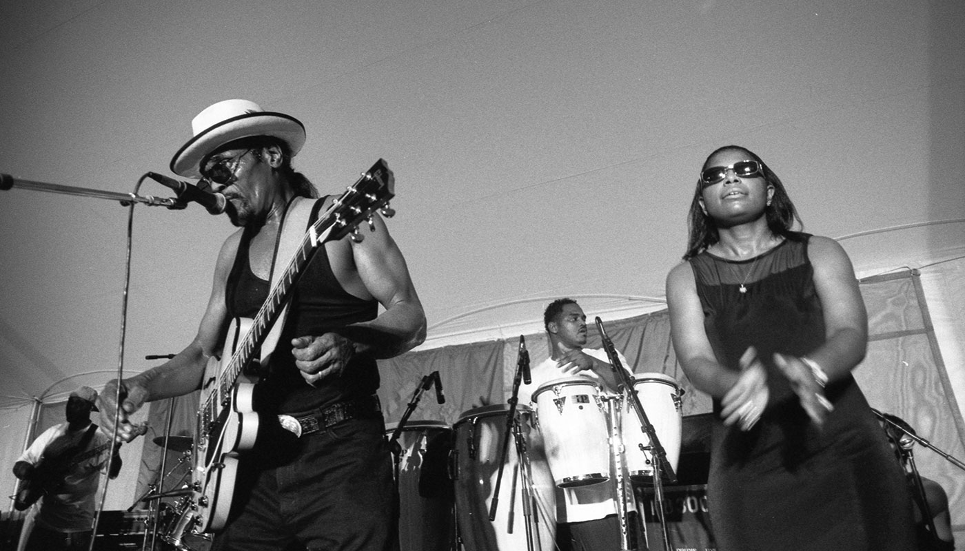 Chuck Brown performs at the 2000 Smithsonian Folklife Festival.