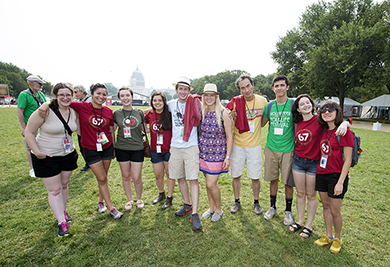 Photo, audio, video, and blog documentation interns and staff pose in front of the Capitol Building on the final day of the 2015 Smithsonian Folklife Festival.