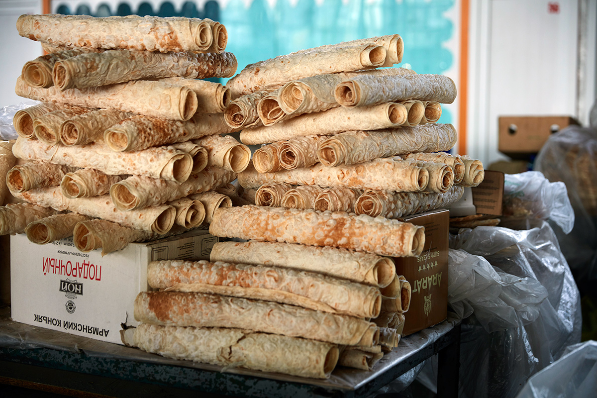 Lavash at GUM Market in Yerevan, Armenia