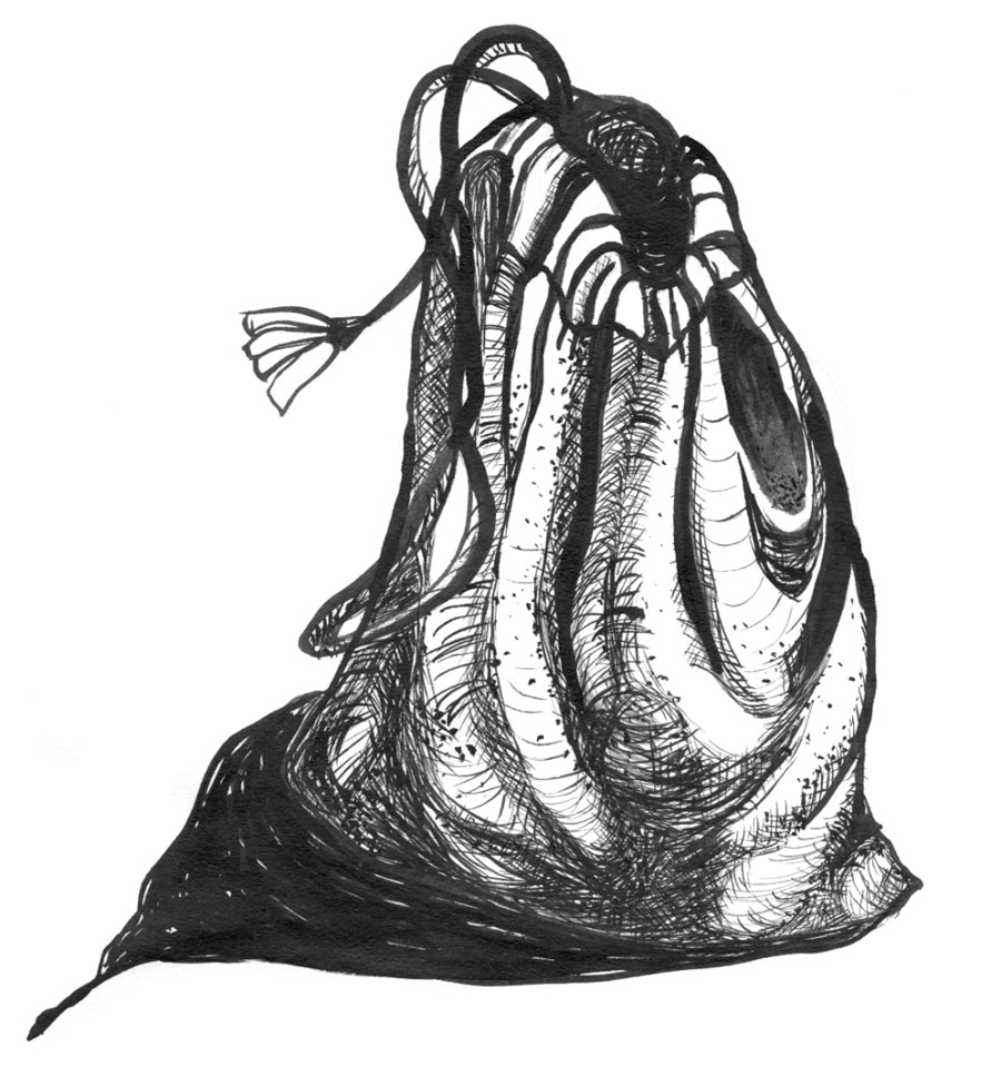 Black and white illustration of a cloth pouch.