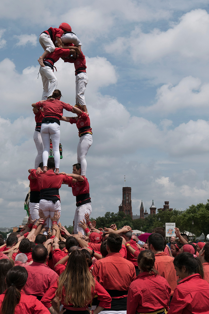 Catalonia human towers at 2018 Smithsonian Folklife Festival