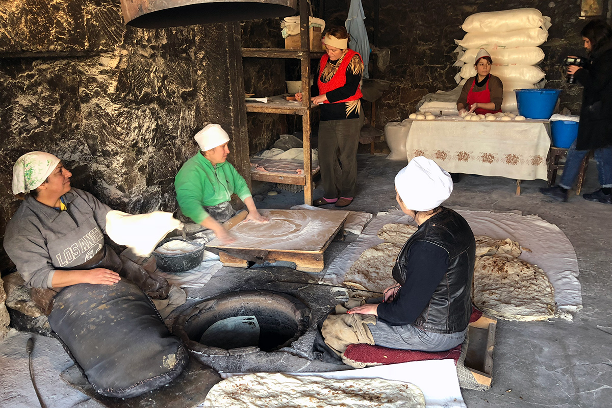 Making lavash in Argel, Armenia