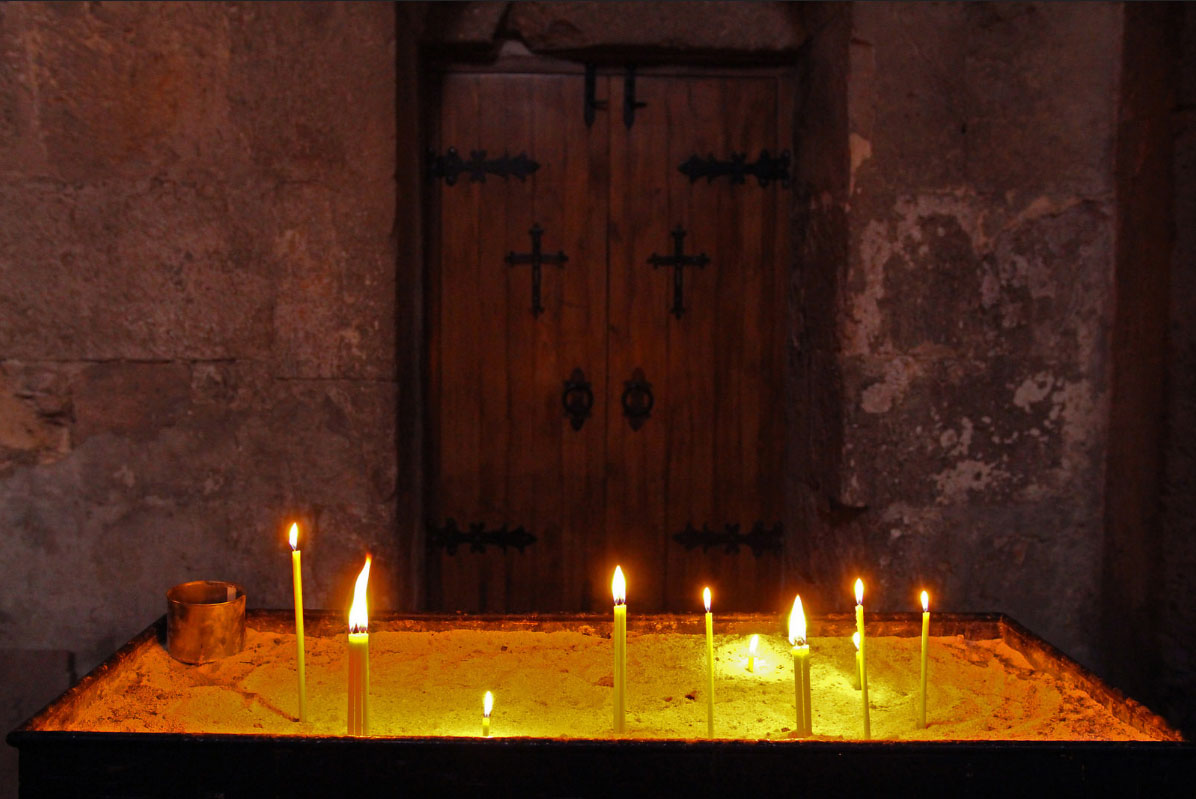 Candles in a church in Alaverdi. Photo by Stephanie Moore, Smithsonian Institution.