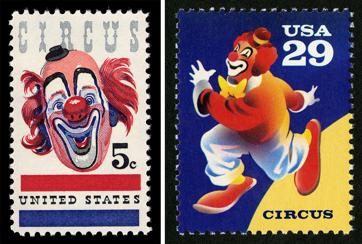 Clown postal stamps