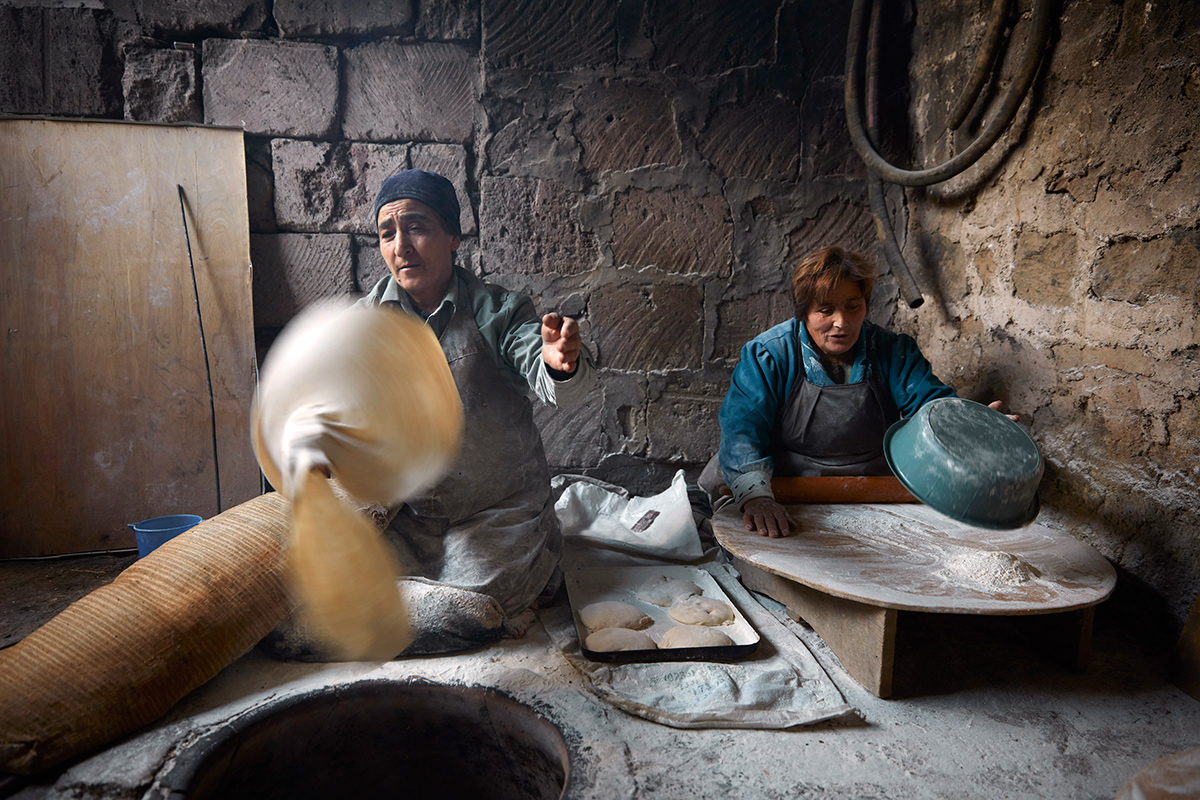 Making lavash in Yeghvard, Armenia