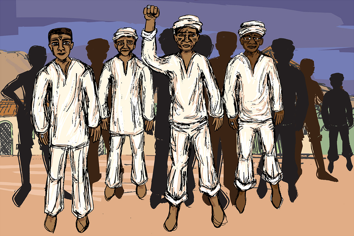 Illustration of African Muslim men standing in solidarity, wearing traditional all-white outfits, one with his fist raised.
