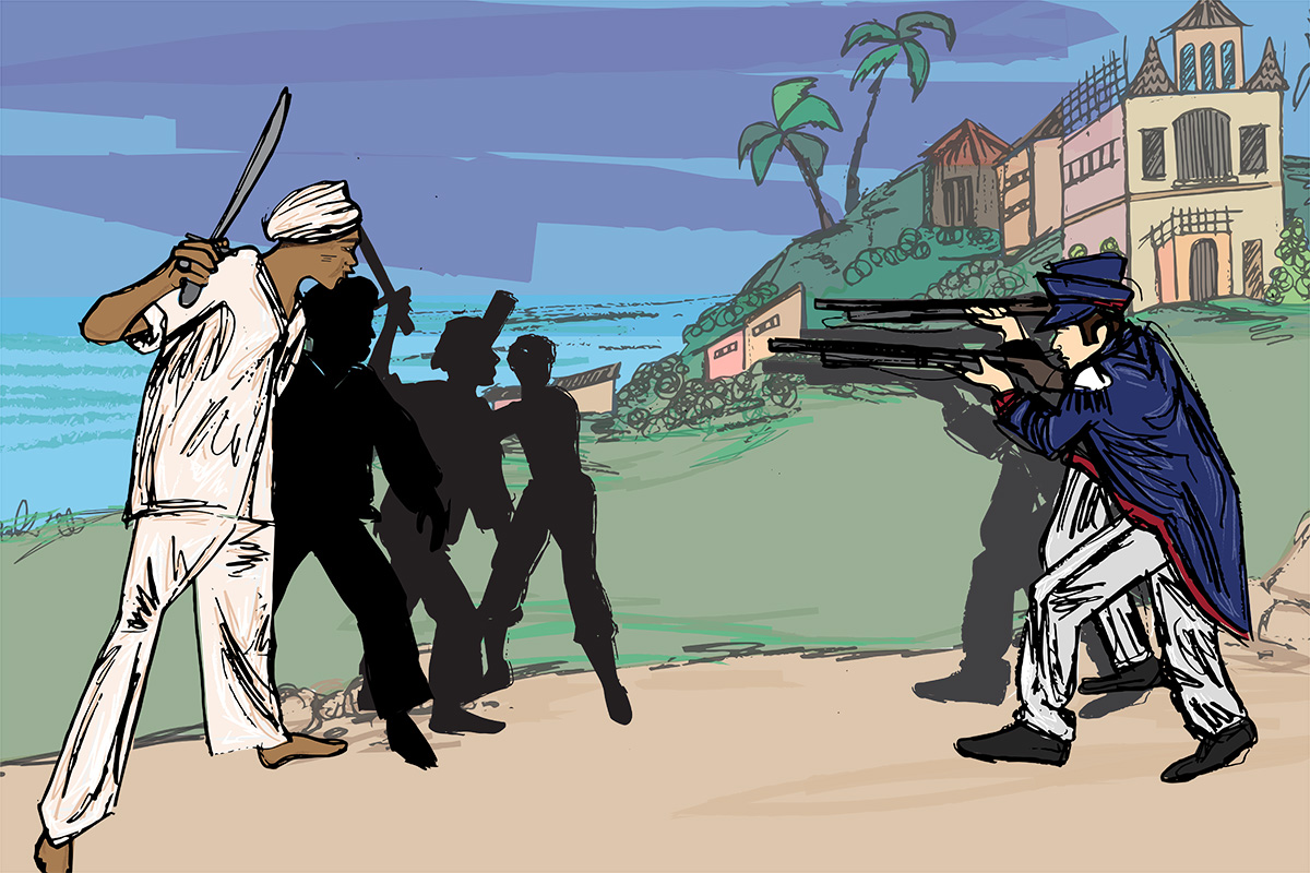 Illustration of African Muslim men in combat with white Brazilian colonizers