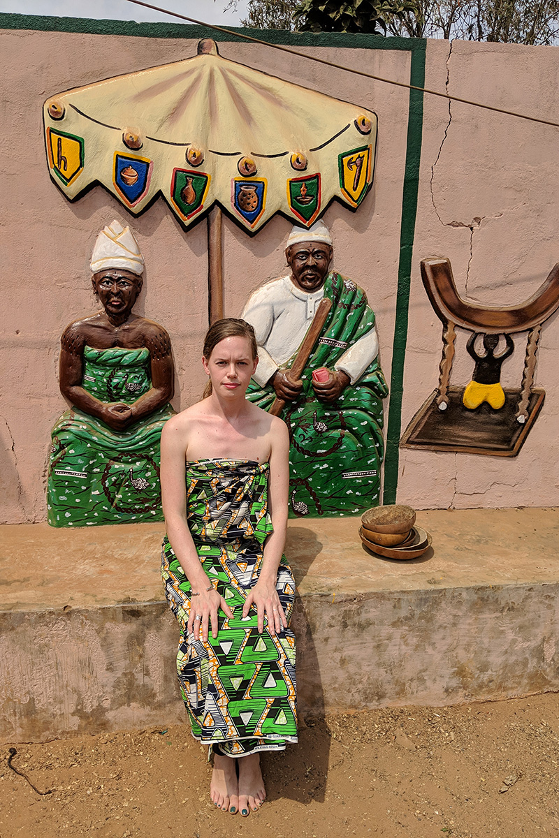 Rebecca Fenton wearing appropriate Vodun attire at a convent in Ouidah