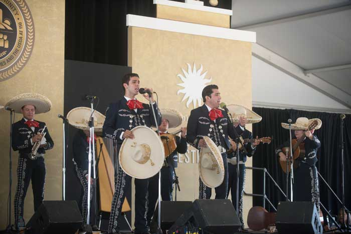 Mariachi Aztlán from the University of Texas, Pan American perform on the Morrill stage of the Campus and Community program. Photo by Nick McAfee, Smithsonian Institution
