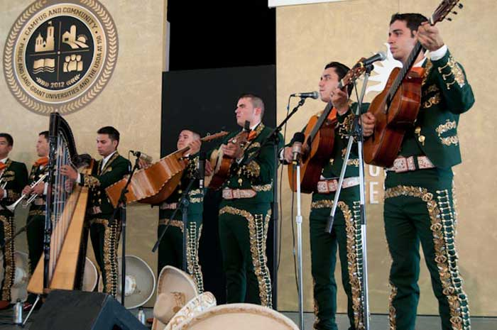 "University of Texas Pan American (UTPA) Mariachi Aztlán perform on the Justin Morrill Performing Arts Center stage of the ""Campus and Community"" program. Photo by Joe Furgal, Smithsonian Institution"