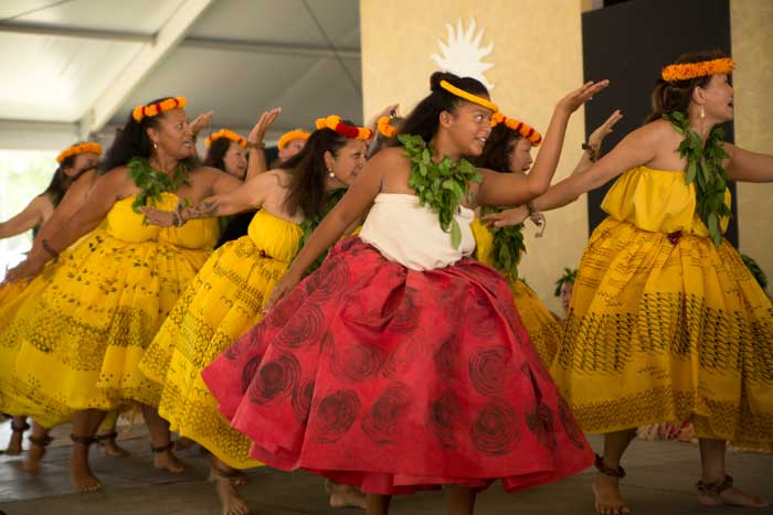 Dancers from the University of Hawai'i perform on the Justin S. Morrill Performing Arts Center stage. Photo by Pruitt Allen, Smithsonian Institution