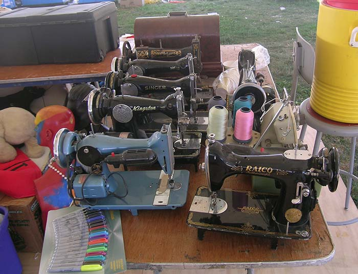 These sewing machines will soon be put to work in the <em>Creativity and Crisis</em> Market Street tent.