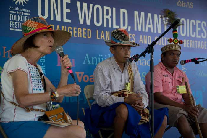 "Olivia Cadaval presents a narrative session, ""Wayuu from Colombia: Words and Worldview,"" with Joaquín Ramó'n Prince Bruges and Luis Misael Socarrás Ipuana in the <i>One World, Many Voices</i> program. Photo by Jennifer Graham, Ralph Rinzler Folklife Archives"