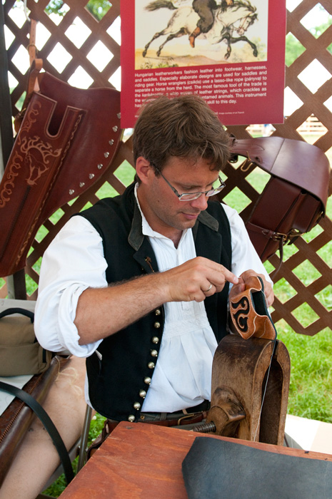 Leatherworking demonstration in the <i>Hungarian Heritage</i> program. Photo by Eliza Piccininni, Ralph Rinzler Folklife Archives