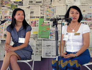 Joanna Zhao (left) and Phyllis Khaing at the Smithsonian Folklife Festival, July 27, 2010