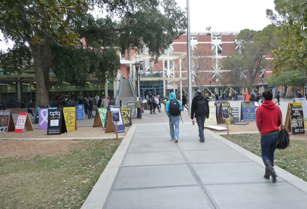 UC Davis campus looking toward Student Union. Campus organizations advertise their events on