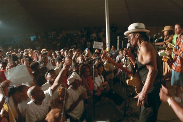 Chuck Brown performs at the Folklife Festival, 2000. Photo by Anthony Brown, Smithsonian Center for Folklife and Cultural Heritage