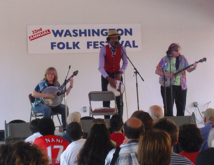 Christylez Bacon performing with Cathy Fink and Marcy Marxer at the Washington Folk Festival on June 2, 2012.