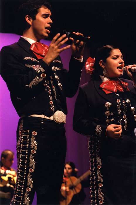 Students of the University of Texas-Pan American Mariachi Aztlán perform in concert.