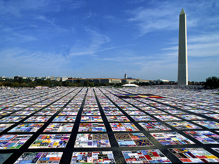 The display of The AIDS Memorial Quilt in Washington, D.C., October 9 through 11, 1992, covered thirteen acres and contained 20,064 panels.