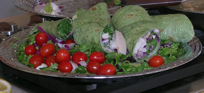 These fresh tilapia wraps are filled with healthy produce.