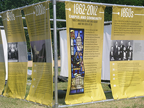 The Timeline is on display outside the Reunion Hall tent (facing Madison Drive, near 12th Street). Photo by James Mayer
