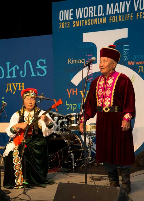 Nyamin Songajieyavich Manjieyev and Nina Kochayevna Manjieyeva of the Republic of Kalmykia perform in the One World, Many Voices program.
